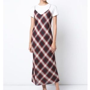Vince Red  Plaid Slip Casual Maxi Dress